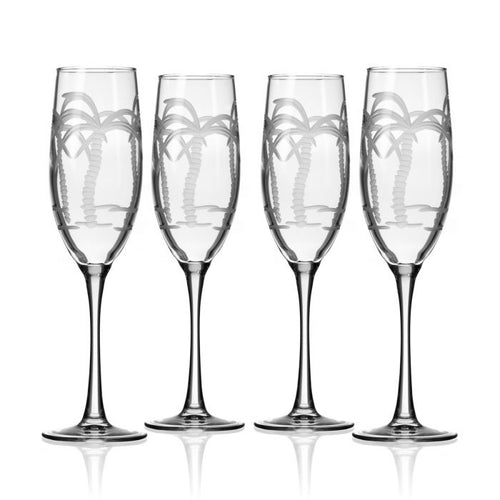 Palm Tree Champagne Flute Set