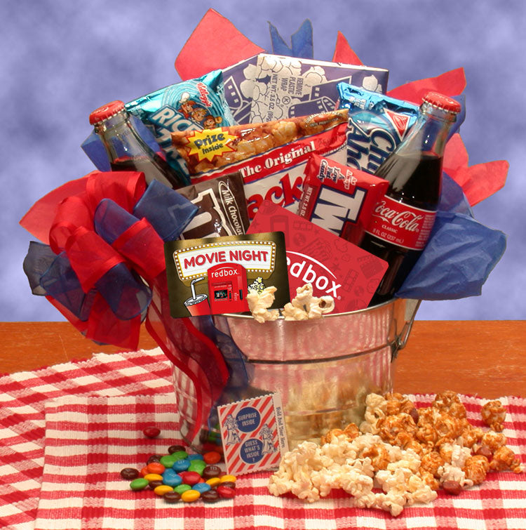 Blockbuster Night Movie Pail - with 10.00 Redbox Gift Card - I'm a Gift-Basket Case!