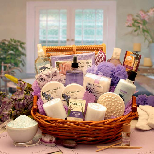 The Essence of Lavender Spa Gift Basket - I'm a Gift-Basket Case!