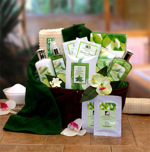 Cucumber & Melon Calming Spa Bath & Body Gift Basket - I'm a Gift-Basket Case!