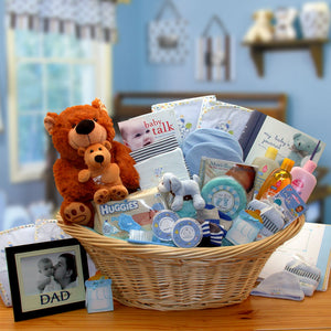 Deluxe Welcome Home Precious  Baby Basket-Blue - I'm a Gift-Basket Case!