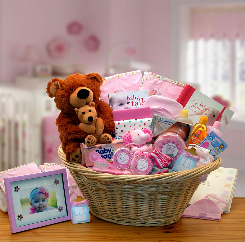 Deluxe Welcome Home Precious Baby Basket-Pink - I'm a Gift-Basket Case!