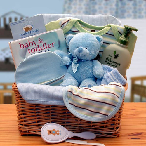 Organic New Baby Basics Gift Baskets - Blue - I'm a Gift-Basket Case!