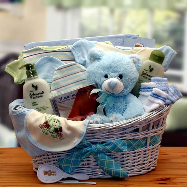 Deluxe Organic New Baby Gift Basket - Blue - I'm a Gift-Basket Case!