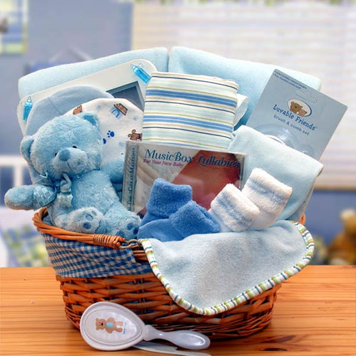 Simply The Baby Basics New Baby Gift Basket- Blue - I'm a Gift-Basket Case!