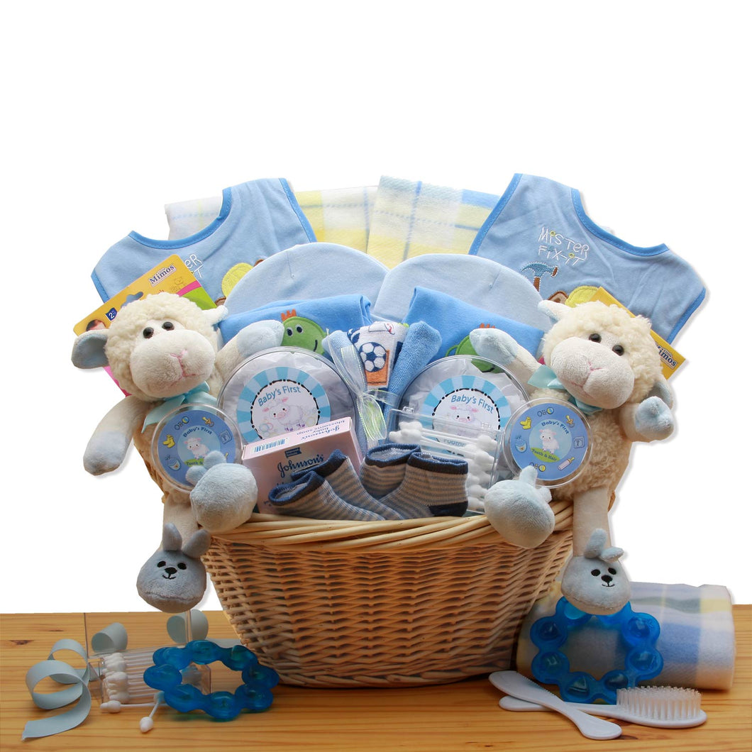 Double Delight Twins New Babies Gift Basket - Blue