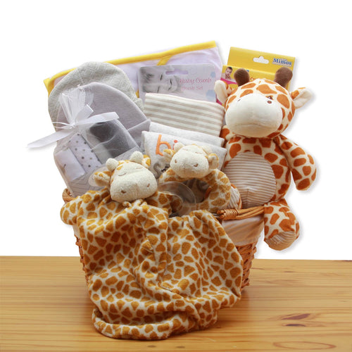 Jungle Safari New Baby Gift Basket - Pink (Image is Yellow)