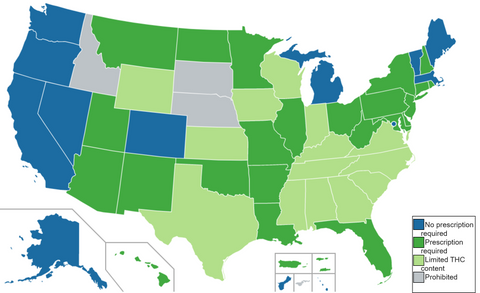 US Legal CBD Status by State