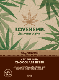 Love Hemp CBD Infused Dark Chocolate Bites 200mg 100g