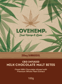 Love Hemp CBD Infused Milk Chocolate Malt Bites 200mg 100g