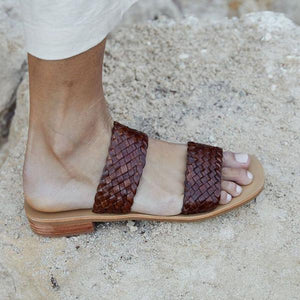 St Agni Piers Woven Slide - Antique Tan