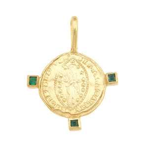 Byzantine Mandorle Medallion with Three Emeralds - 18K Gold Plated