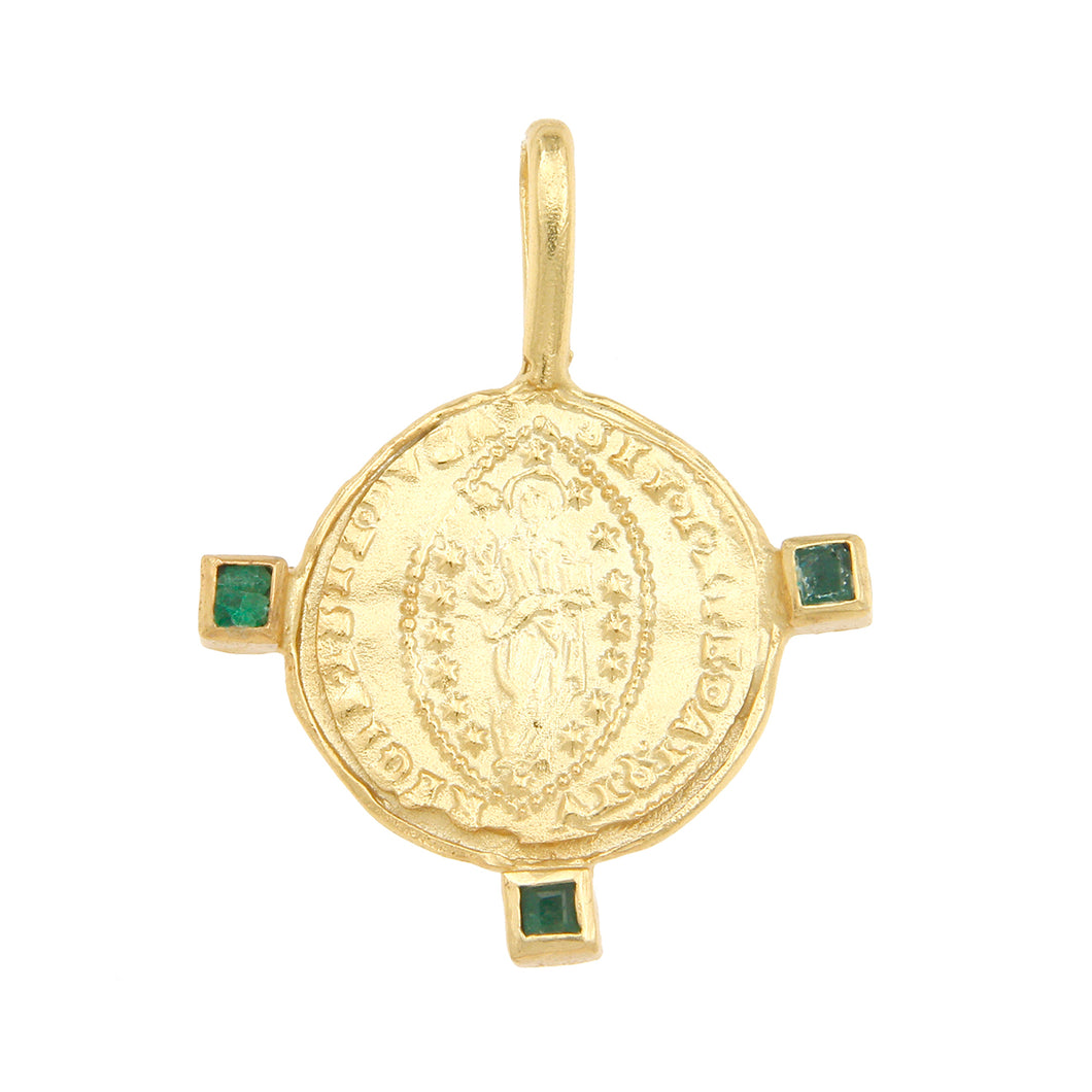 Byzantine Mandorle Medallion w/ Three Emeralds