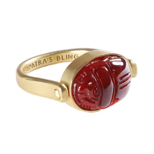 Khepri Ring with Red Resin - 18K Gold Plated