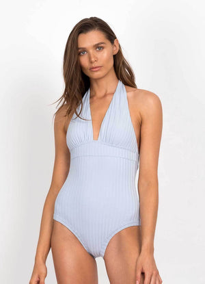 Peony Swimwear Halter One Piece - Cornflower