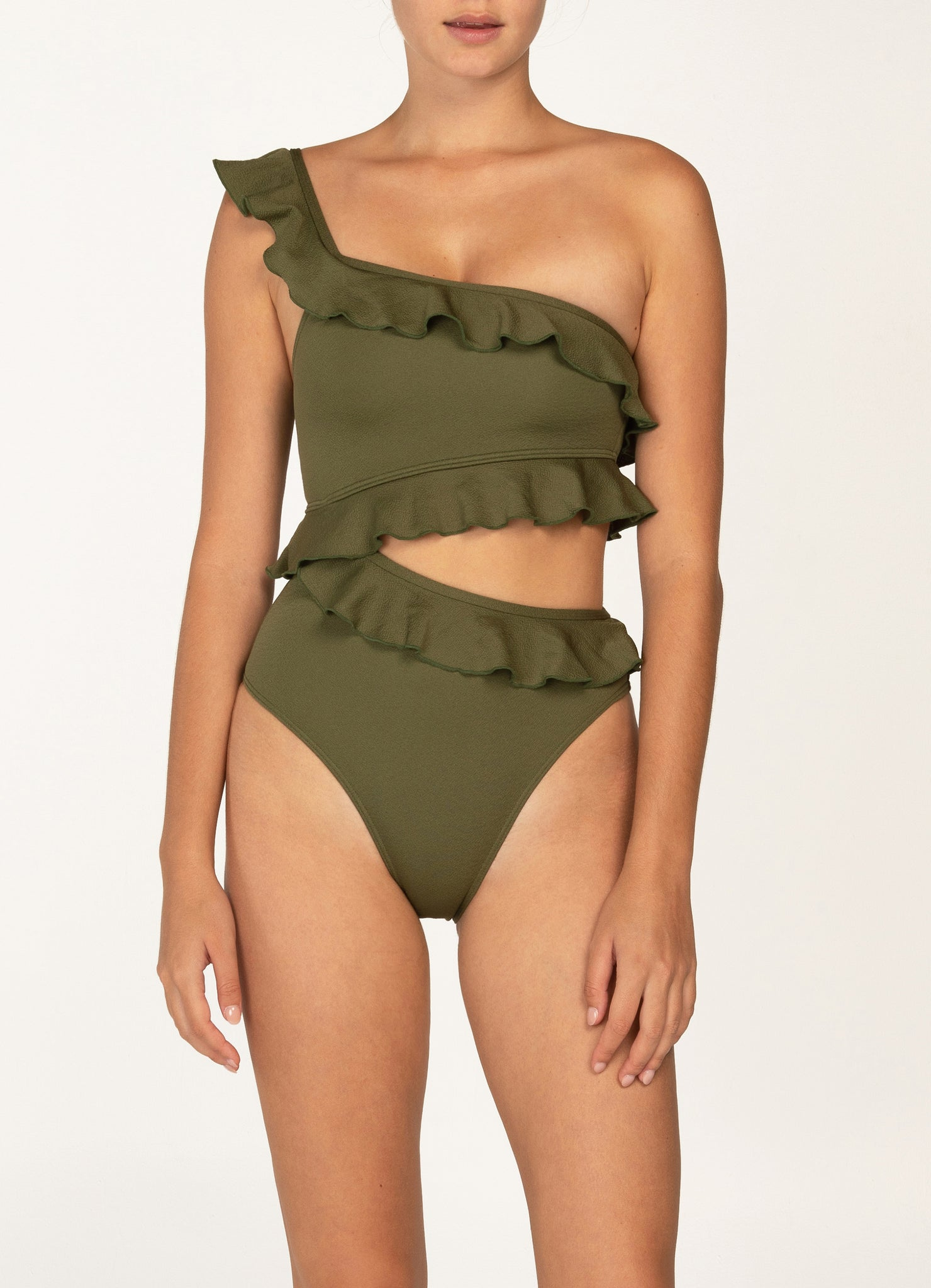 Ruffle One Shoulder One Piece - Pear