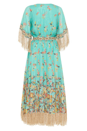 Spell Designs Hendrix Tasseled Dress - Sky