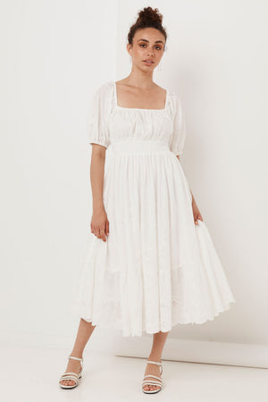 Capulet Broderie Anglaise Soiree Dress - White