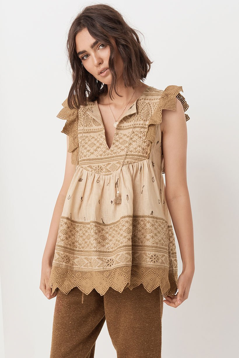 Spell Designs Muwala Embroided Sleeveless Blouse - Almond