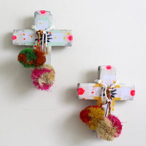 Yellow Neon Palm Mini Cross