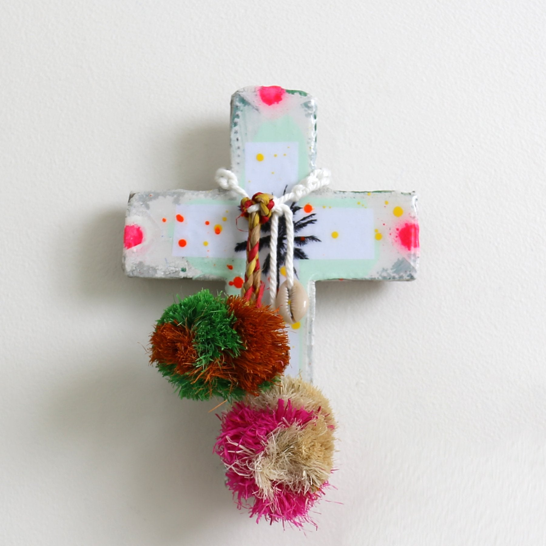 Turquoise Neon Palm Mini Cross