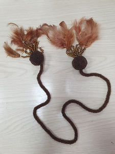 Set of 2 Luxury Feather Beaded Curtain Tie Backs