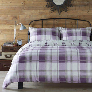 Appletree Kinross Stag Brushed Cotton Duvet Cover Set - Plum