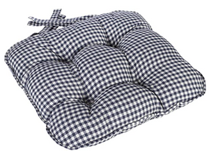 Berkeley Checked Piped Chunky Seat Pad Cushion - Navy