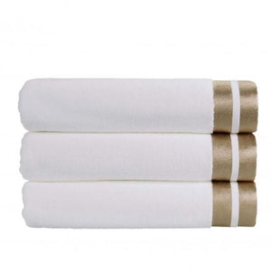 Christy Mode 600gsm Cotton Towels - White/Gold