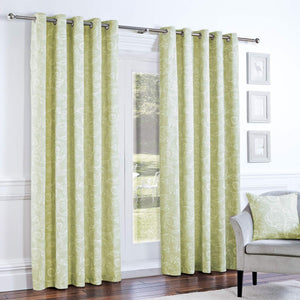 Curtina Somerford Lined Eyelet Curtains Green