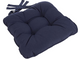 Eton Piped Chunky Seat Pad Cushion - Navy