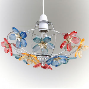 Floral Bouquet Chrome Light Fitting Uplighter - Multi Colour