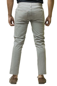 Ignite Wardrobe Men's Casual Trousers Slim-Fit Light Grey Stretchable Pants