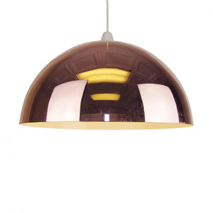 Shiny Dome Metal Lighting Pendant Shade - Copper