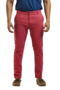 Ignite Wardrobe Men's Casual Trousers Slim-Fit Red Cotton Chino Pants