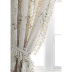Vantona Country Charlotte Pencil Pleat Curtains and Tiebacks, Peach & Pink - 66 x 72