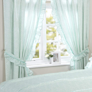 Vantona Country Monique Pencil Pleat Curtains and Tiebacks - Mint - 66 x 72
