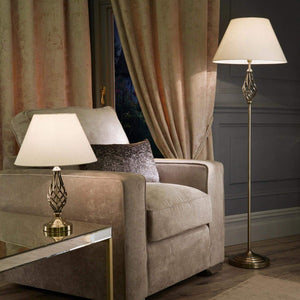 Village at Home Barley Twist Floor Lamp - Antique Brass