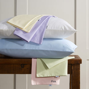 Vantona Plain Dye Pure Cotton Fitted Valance Sheet - Pink