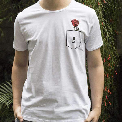 mens-market-brasil - Camiseta La Moustache Roses Fake Pocket - La Moustache