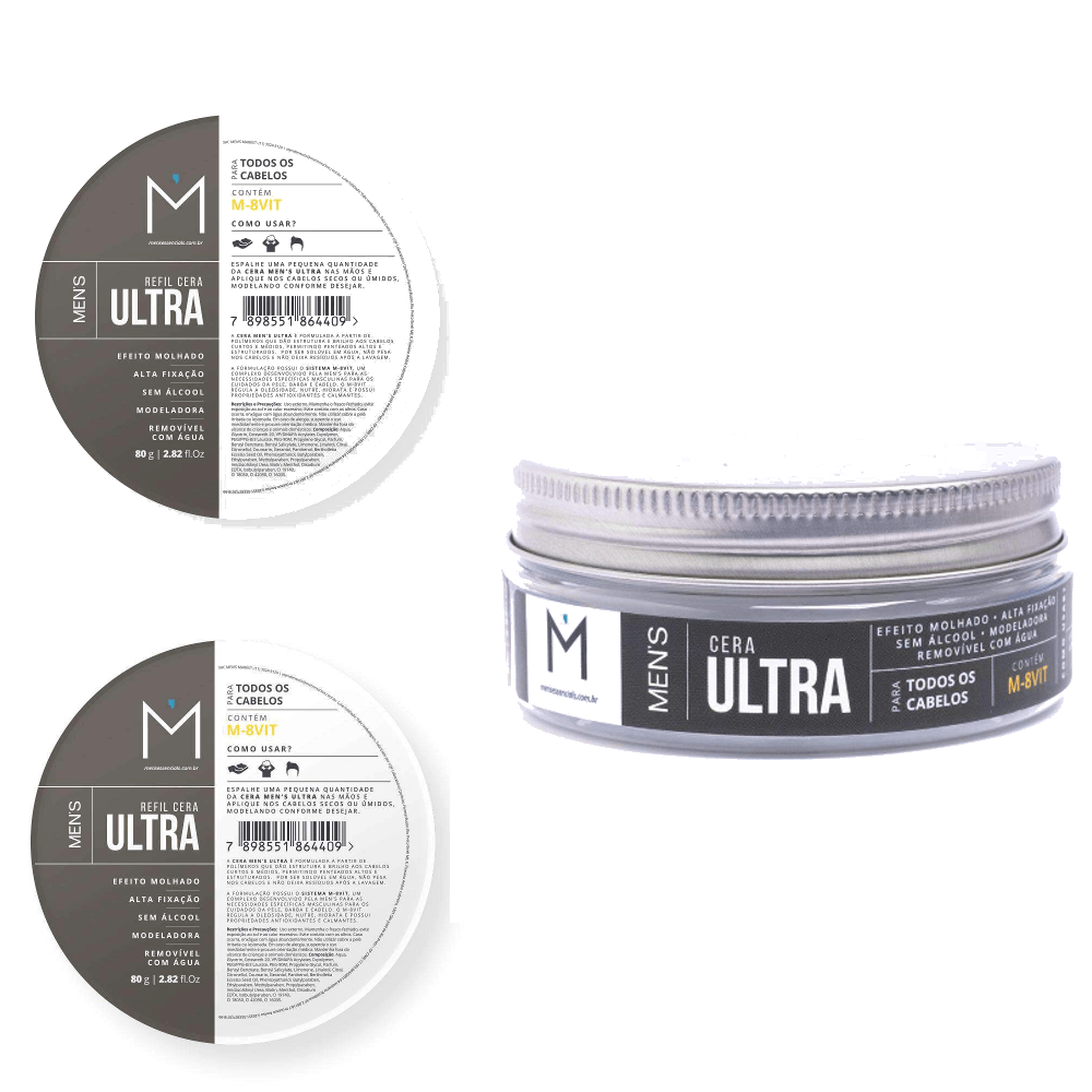Kit Cera Ultra Men's + 2 Refis Ultra Men's Men's Men's Market