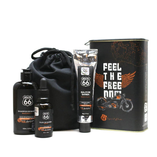 Kit Lata Shampoo, Balm e Óleo de Barba Viking Route 66 Classic Viking Men's Market