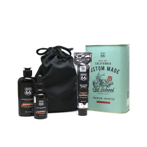 Kit Lata Shampoo, Balm e Óleo de Barba Viking Route 66 Custom Made Viking Men's Market