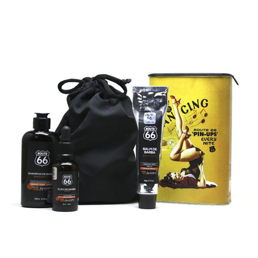 Kit Lata Shampoo, Balm e Óleo de Barba Viking Route 66 Dancing Viking Men's Market