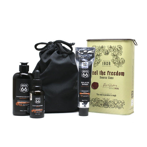 Kit Lata Shampoo, Balm e Óleo de Barba Viking Route 66 Freedom Viking Men's Market