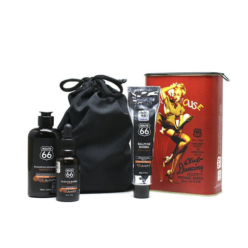 Kit Lata Shampoo, Balm e Óleo de Barba Viking Route 66 Fun House Viking Men's Market