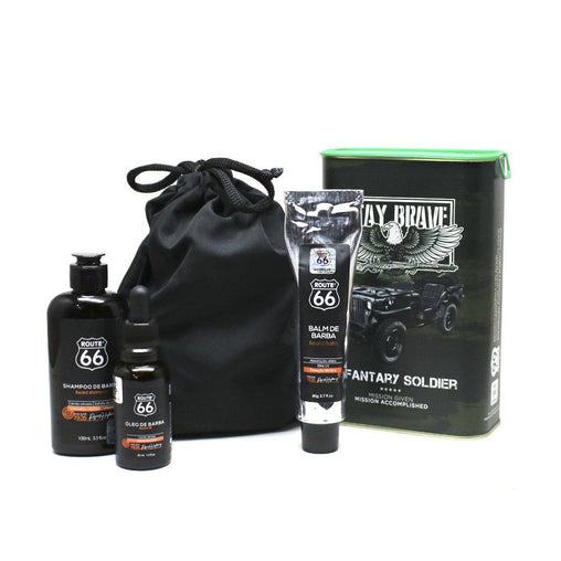 Kit Lata Shampoo, Balm e Óleo de Barba Viking Route 66 Military Viking Men's Market