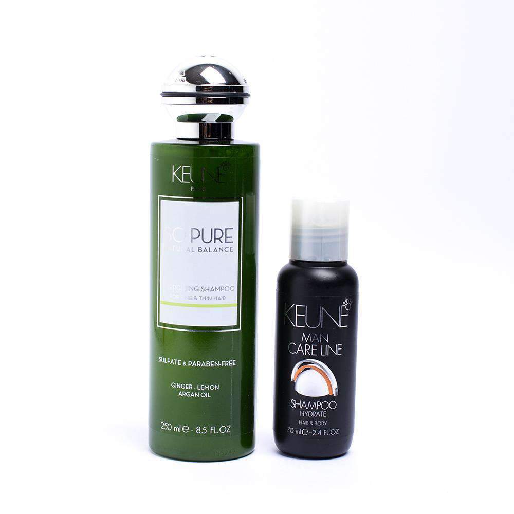 mens-market-brasil - Kit Shampoo Keune So Pure Energizing 250ml + Hydrate Shampoo 70ml - Keune