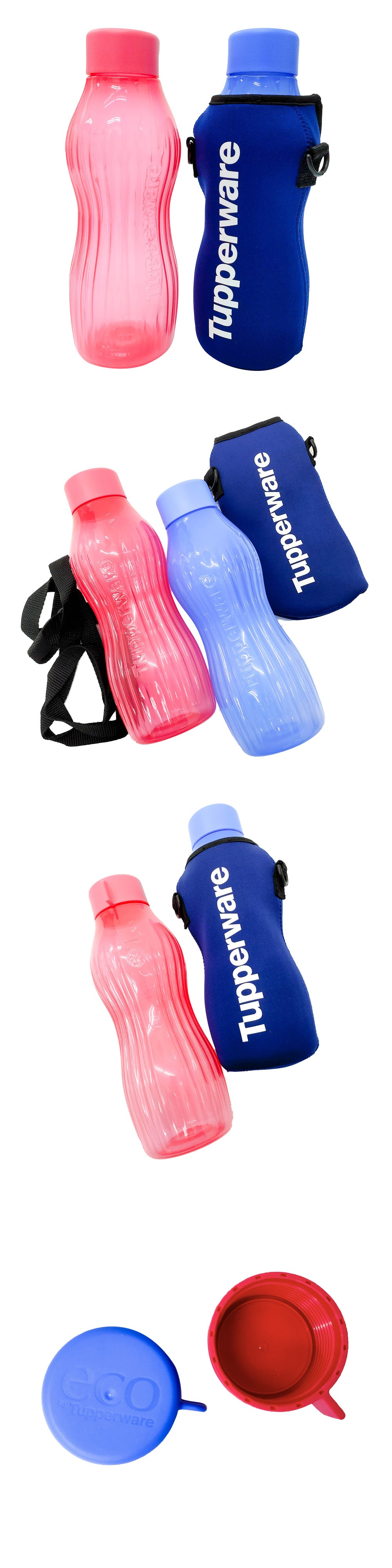 Tupperware Xtreme Aqua Freezer Proof Bottles with Pouch - Red/Blue