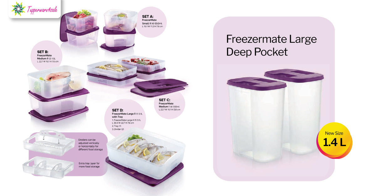 Tupperware FreezerMate Large II (1) 3.1L with Tray